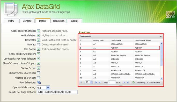 Ajax Datagrid Manual - Articles - DMXzone COM