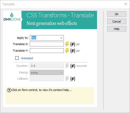Universal CSS Transforms: Translate - Extensions - DMXzone COM