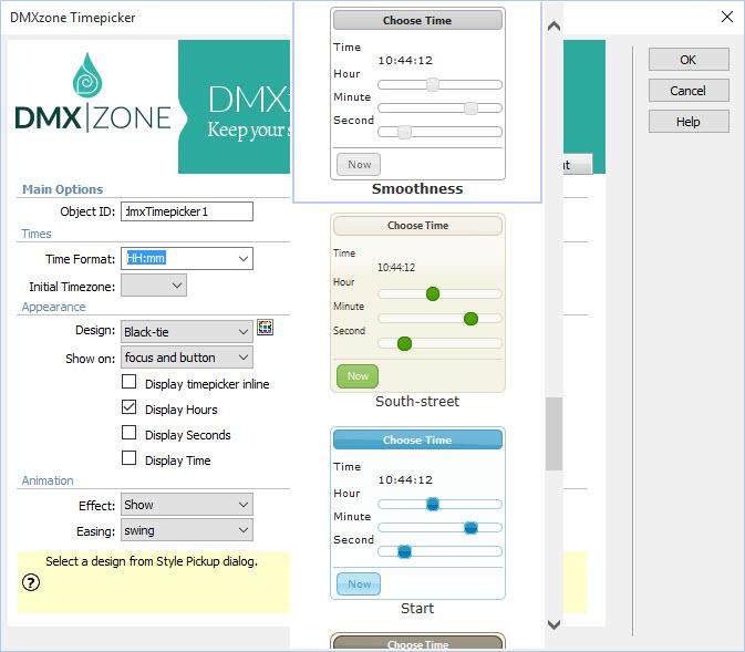 DMXzone Timepicker