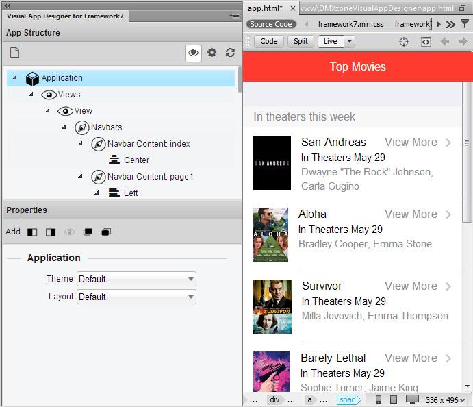 DMXzone Visual App Designer for Framework 7