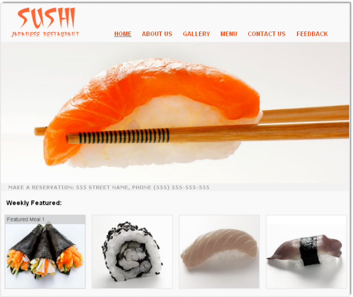 Download sushi restaurant template for free dmxzone sushi restaurant home page pronofoot35fo Choice Image
