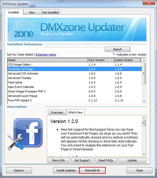 new dmxzone updater for dreamweaver 12 1 dmxzone com