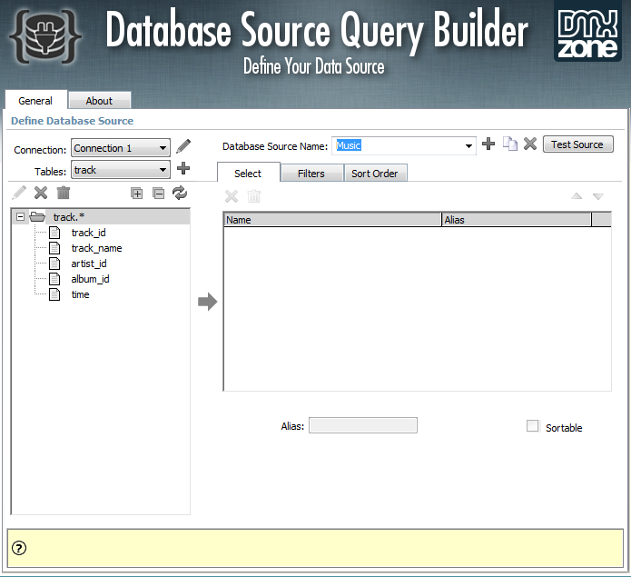 Database Source Query Builder Features - DMXzone COM