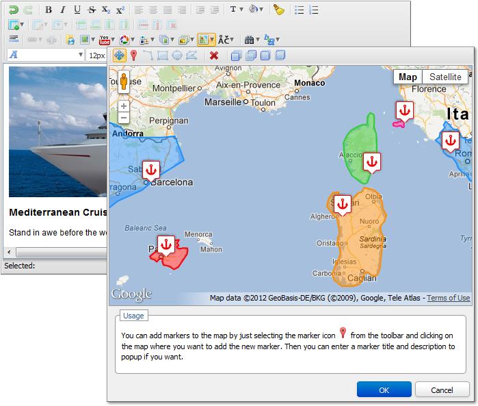 Google Maps Drawing Add-on Meets Adv HTML Editor 3 - DMXzone COM