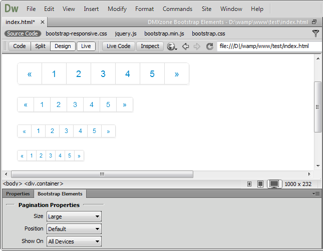 DMXzone Bootstrap Elements