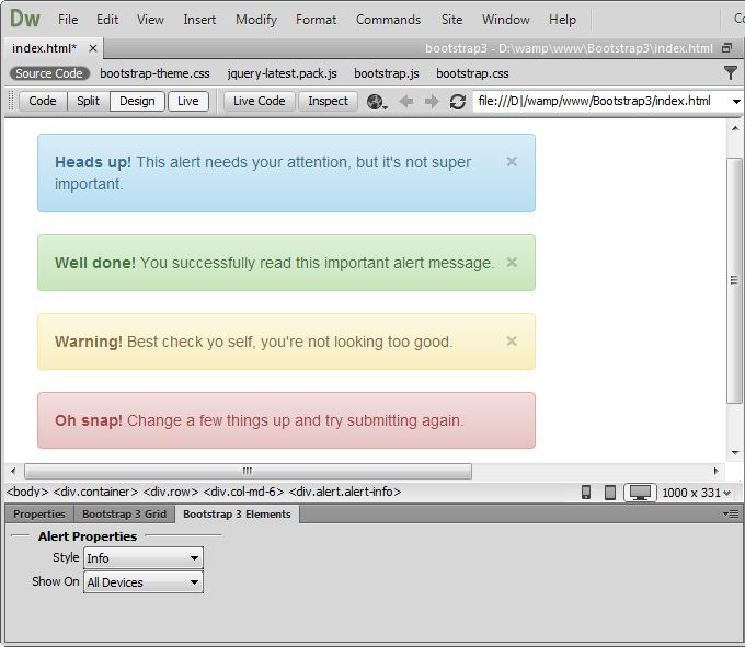 DMXzone Bootstrap 3 Elements