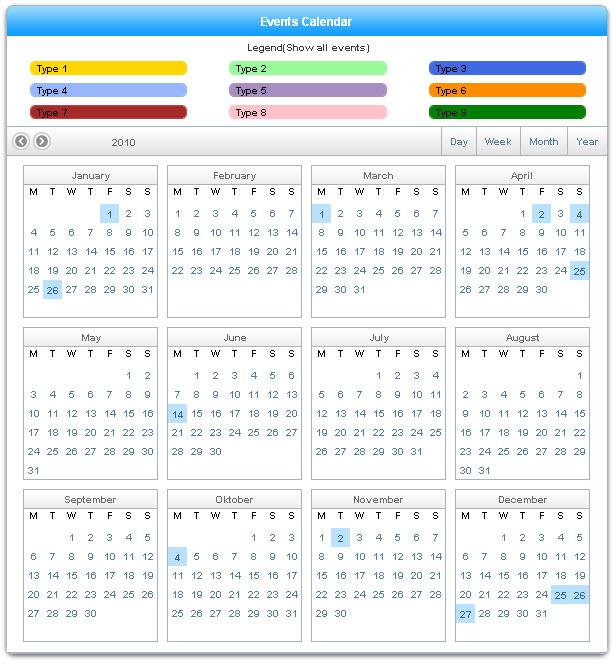 Ajax Event Calendar - Extensions - Dmxzone.Com