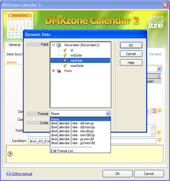 Dmxzone calendar 2 extensions dmxzone built in server formats for easy data conversion in asp and php maxwellsz