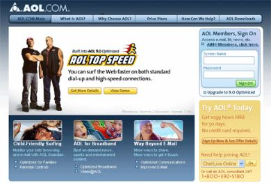 Screenshot of the AOL website which uses numerous images to display text
