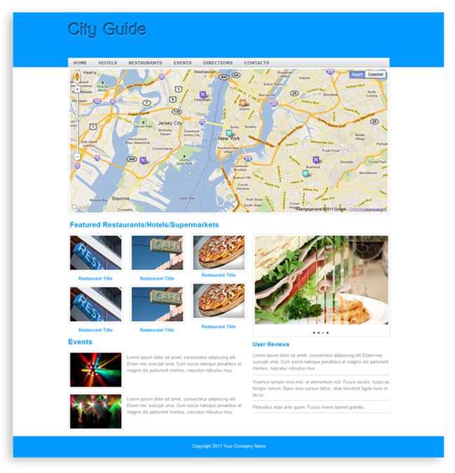 Green Start Web Page Site Map: City Guide Template