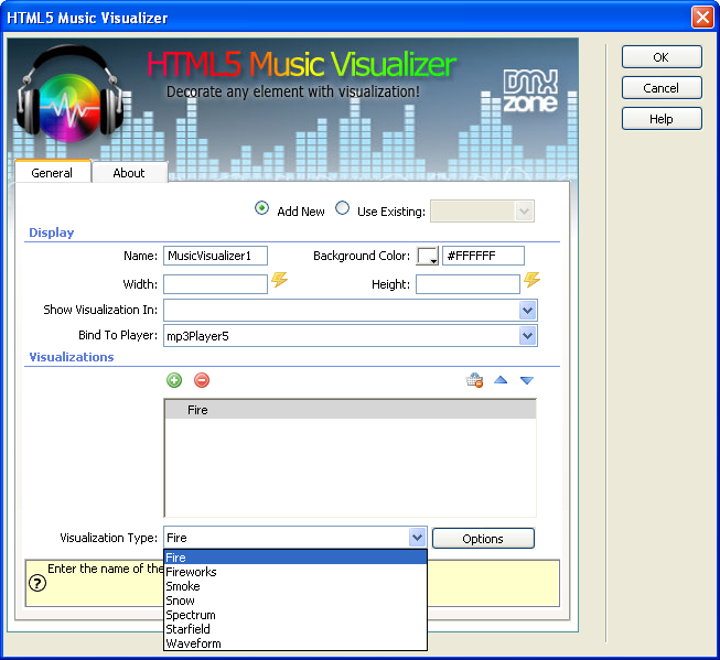Html5 music visualizer add on extensions dmxzone com for Online visualizer