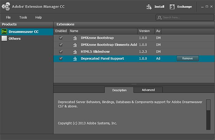 deprecated server behaviors panel support zxp download