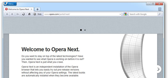 Opera Next Clears Clutter from the Browser UI - News - DMXzone COM