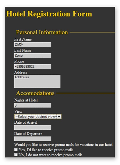 Making a hotel registration using css form designer and universal how to use altavistaventures