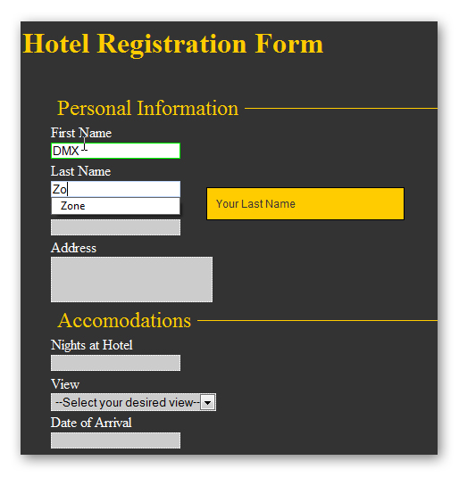 Making a hotel registration using css form designer and universal you just drag drop the form elements and type their needed properties such as programmatic name label etc then use the universal form validator to thecheapjerseys Gallery