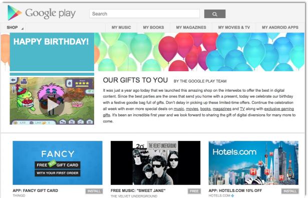 Google Play Celebrates Its First Birthday - News - DMXzone COM