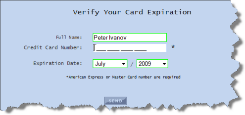 Credit card expiration date in Brisbane