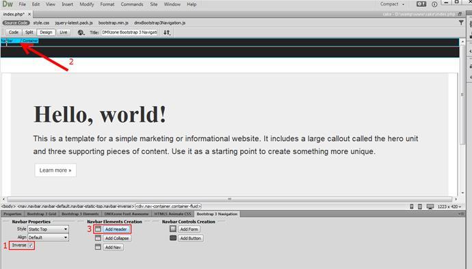 Add DMXzone Bootstrap 3 Navigation Navbar - Videos - DMXzone COM