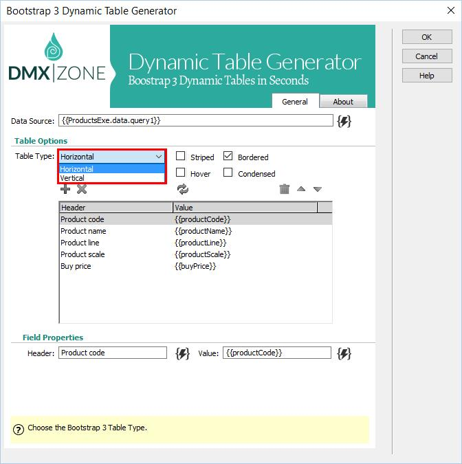 Bootstrap 3 Dynamic Table Generator Extensions Dmxzone